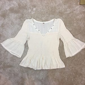 🎠 FREE PEOPLE Ivory BELL Sleeve FITTED Rayon TOP